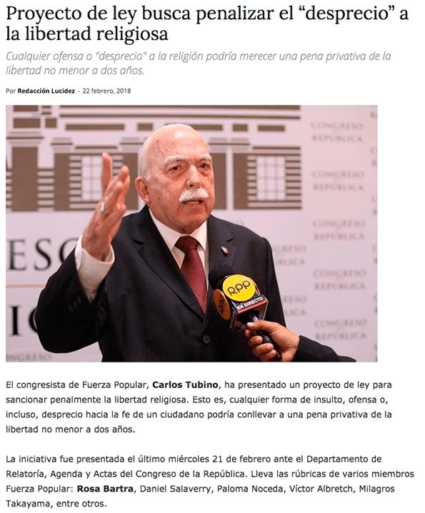 """""""Ley Inquisición"""" propuesta por Congresista Carlos Tubino."""